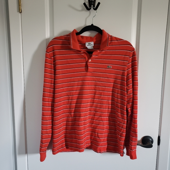 LACOSTE Red Striped Long Sleeve Collared Shirt